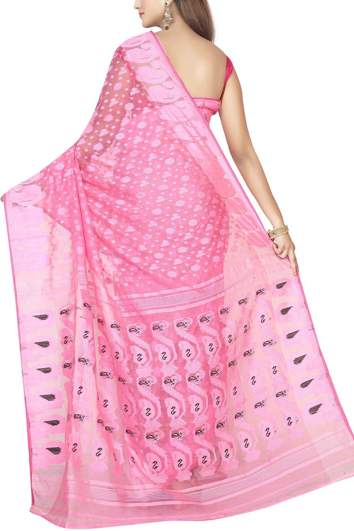 781d08e8bd1 Baby Pink   White Paisley Dhakai Cotton Jamdani Saree - Muslin Myths ...