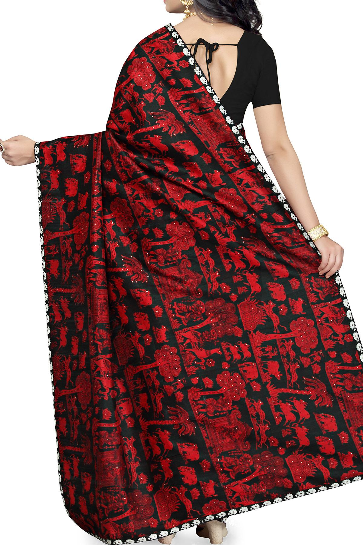 aeae154d42bd9a Black & Red Hand Block Print Pure Raw Silk Saree with Dupion Piping Border