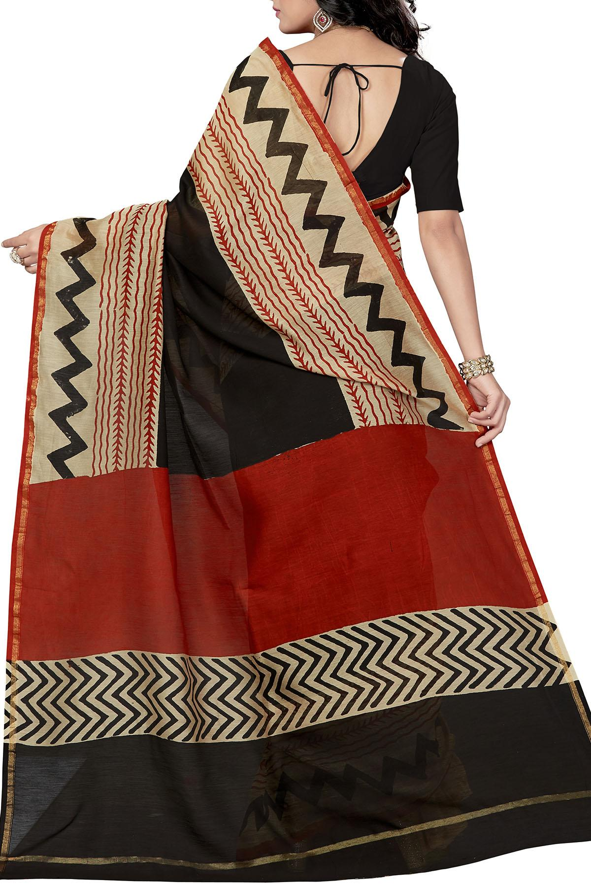 5d94d80edc Brown & Black Zigzag Hand Block Chanderi Silk Cotton Saree ...