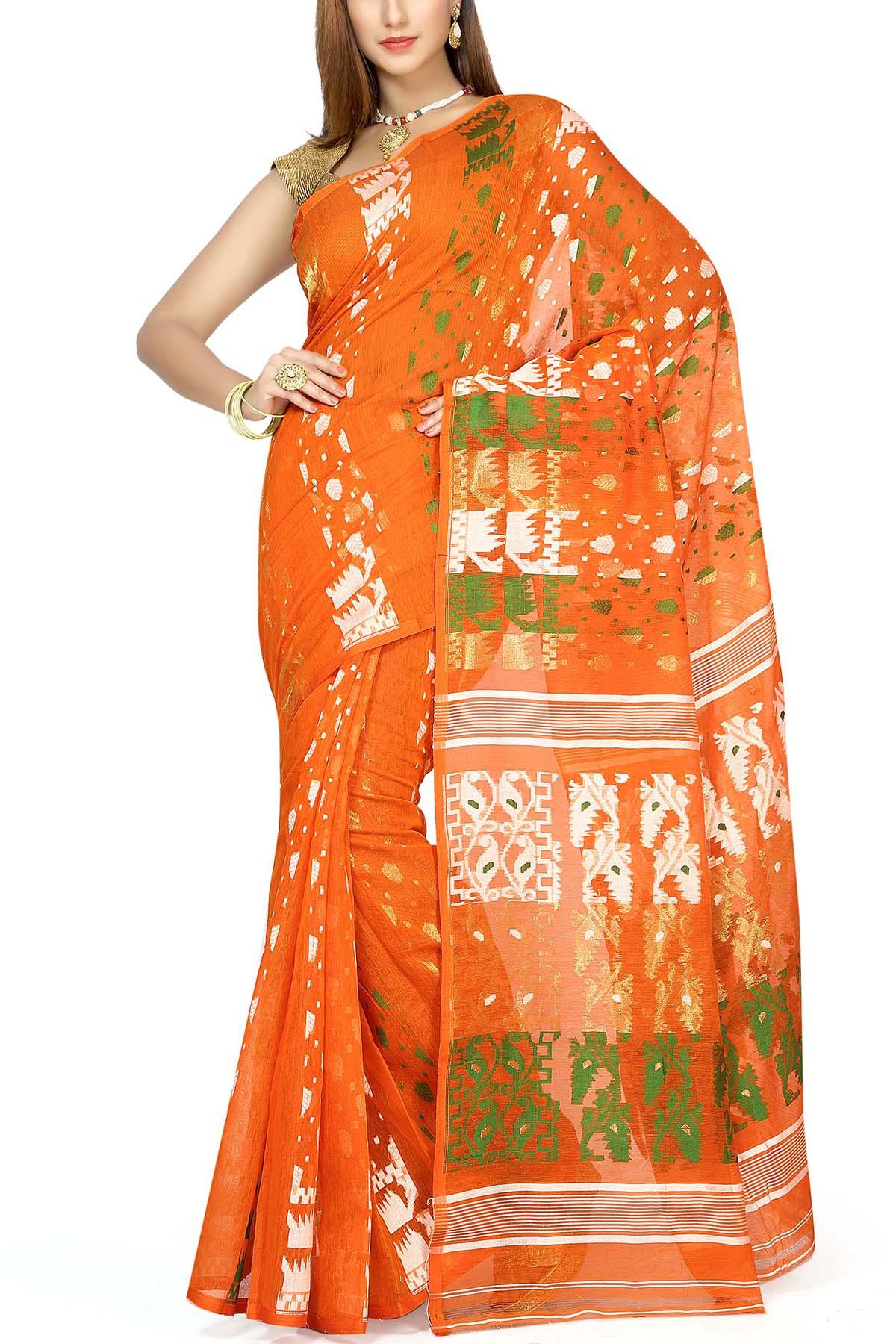 5b2d40f962a6a Giants Orange   Tri-color Dhakai Cotton Jamdani Saree - Muslin Myths ...