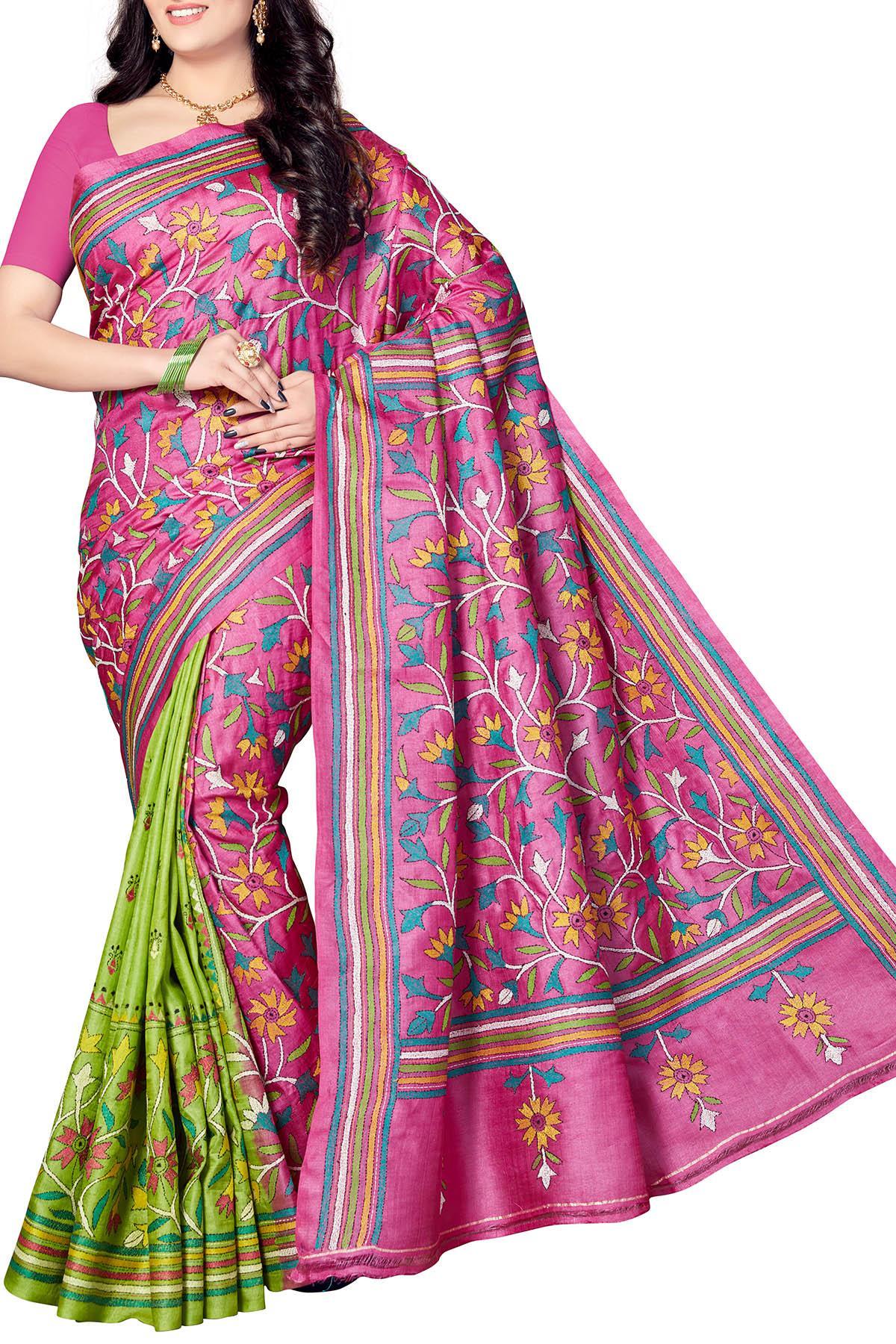 1418c40bec2 Hot Pink   Green Floral Nakshi Kantha Tussar Silk Saree - Kantha ...