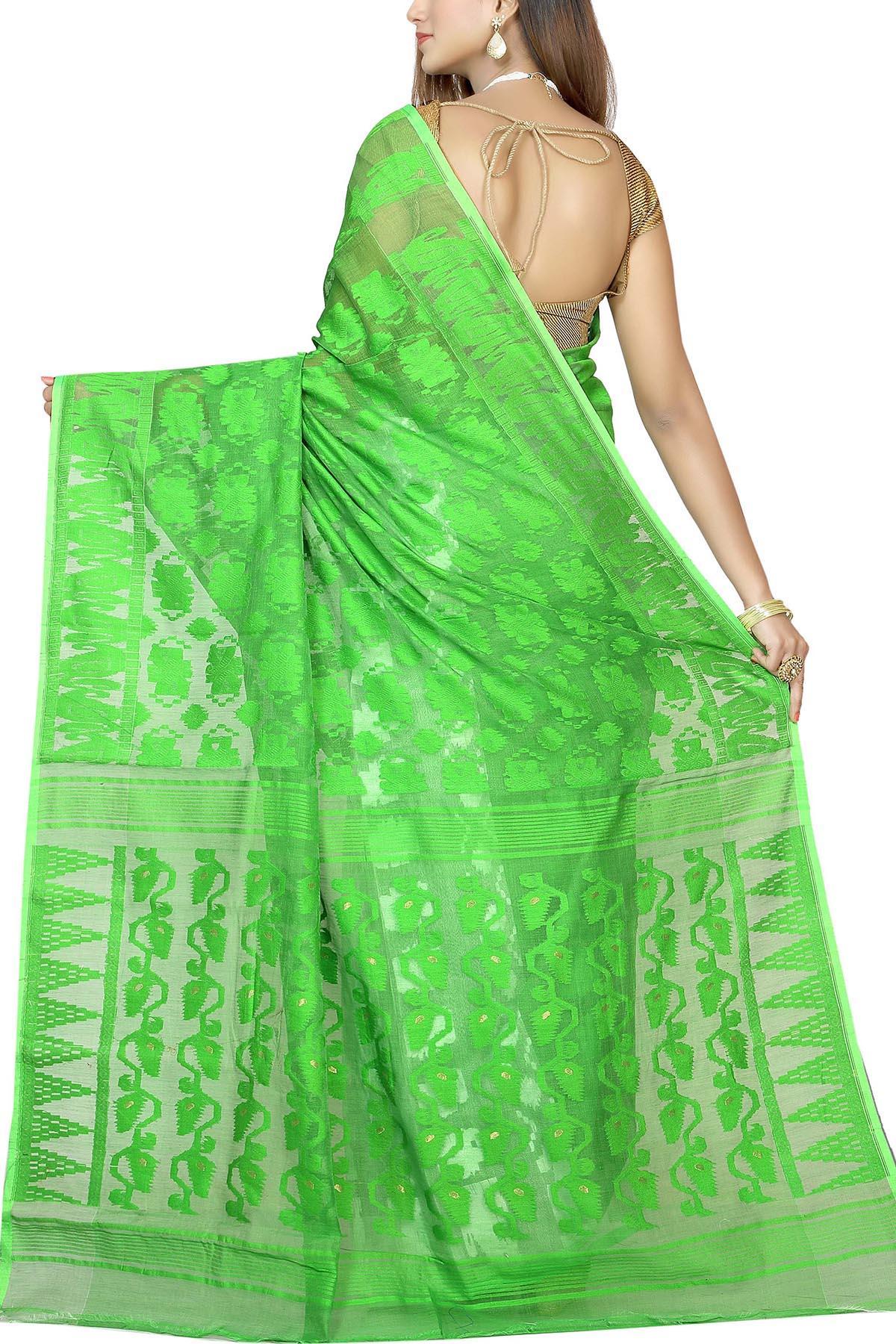 24233ab40e Lime Green & White Dhakai Cotton Jamdani Saree - Muslin Myths   Shop ...