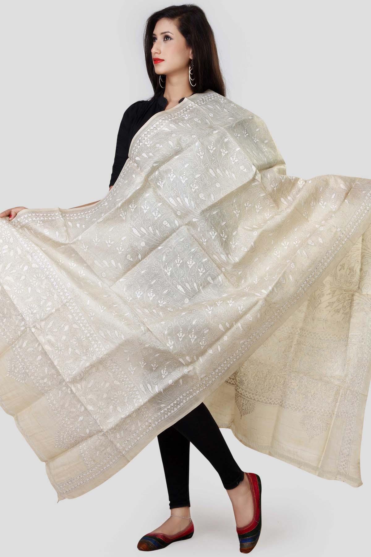 319657578c4 Off White Kantha Tussar Silk Dupatta - DUPATTAS | Shop Online at ...