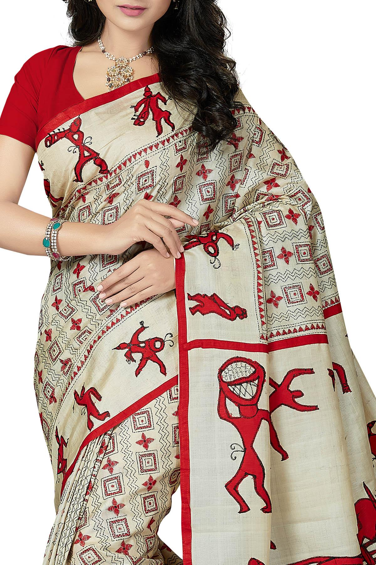 b7c03f1c69 Red & Off-White Applique Work Tussar Silk Saree - Kantha CraftArt ...