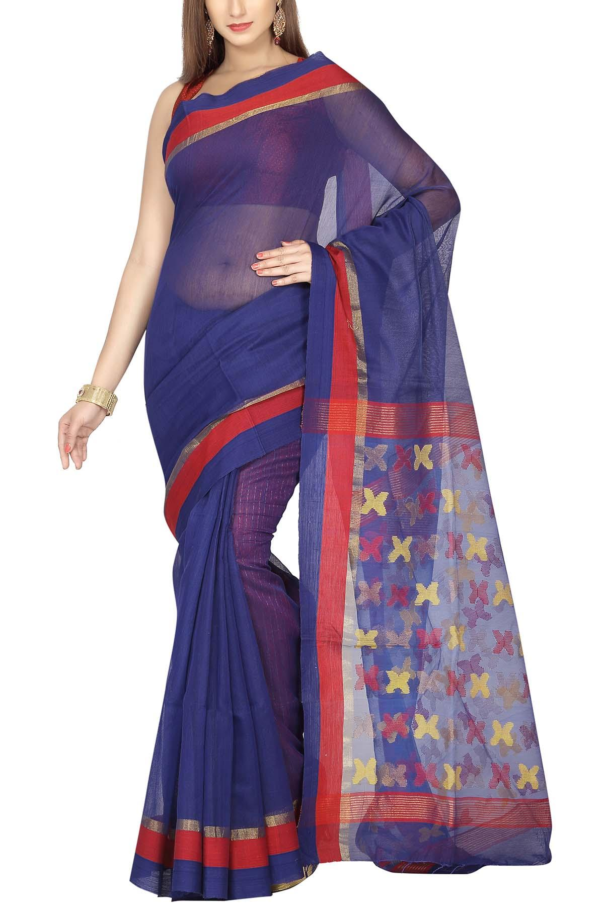 5cc99caf74 Royal Blue & Red Zari Dhakai Cotton Silk Jamdani Saree - Muslin ...