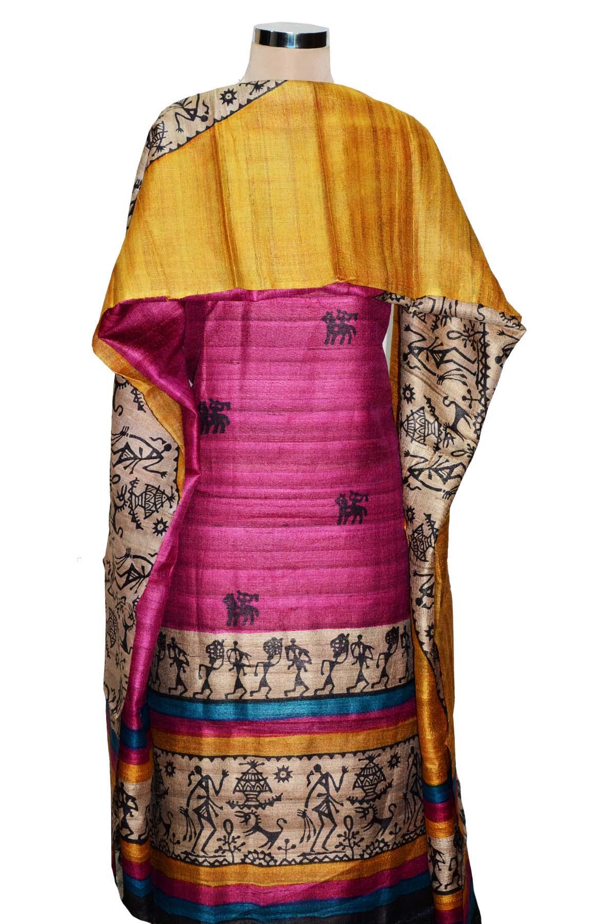 Royal Fuchsia & Gold Tussar Silk Hand Block Printed Unstitched ...