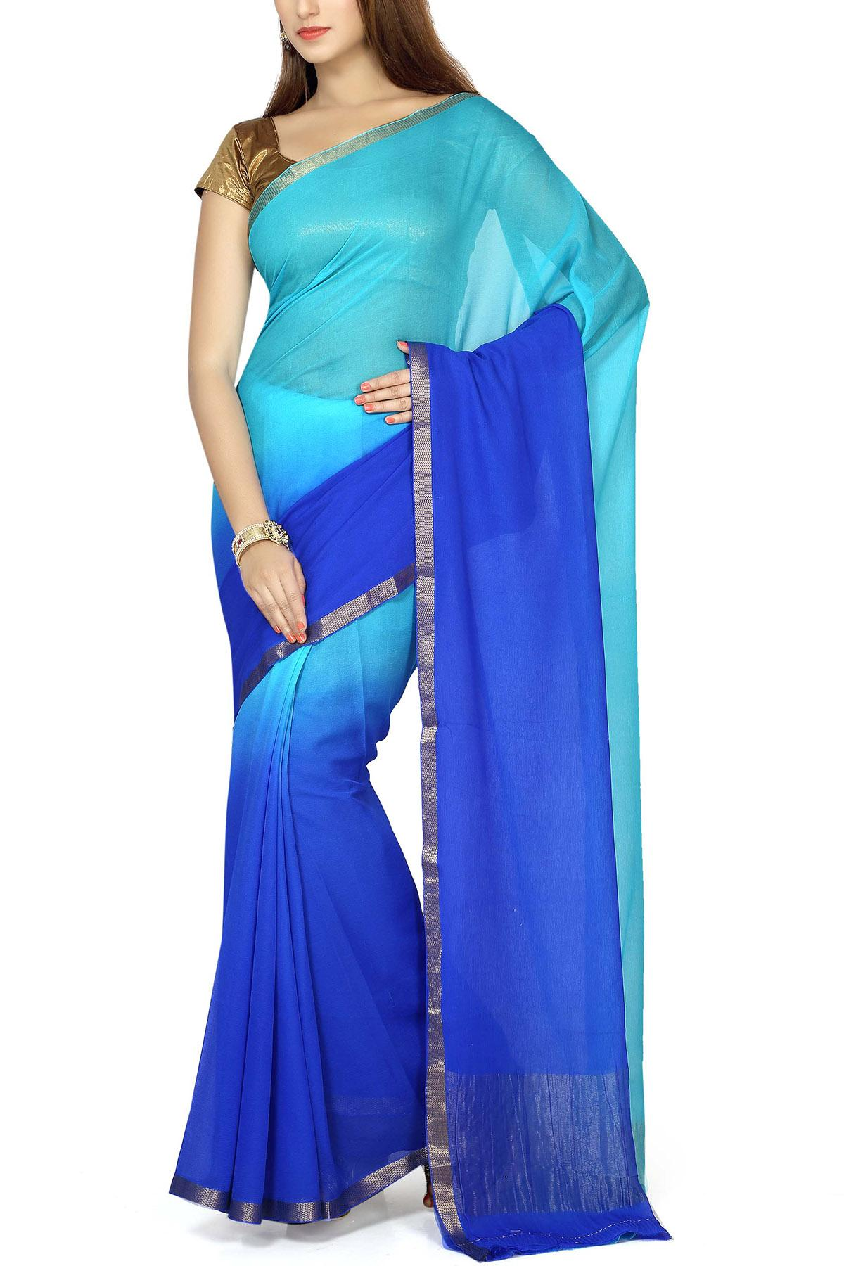 4f5f0c7018e70 Turquoise   Blue Shaded Pure Chiffon Zari Border Saree - Chiffon ...