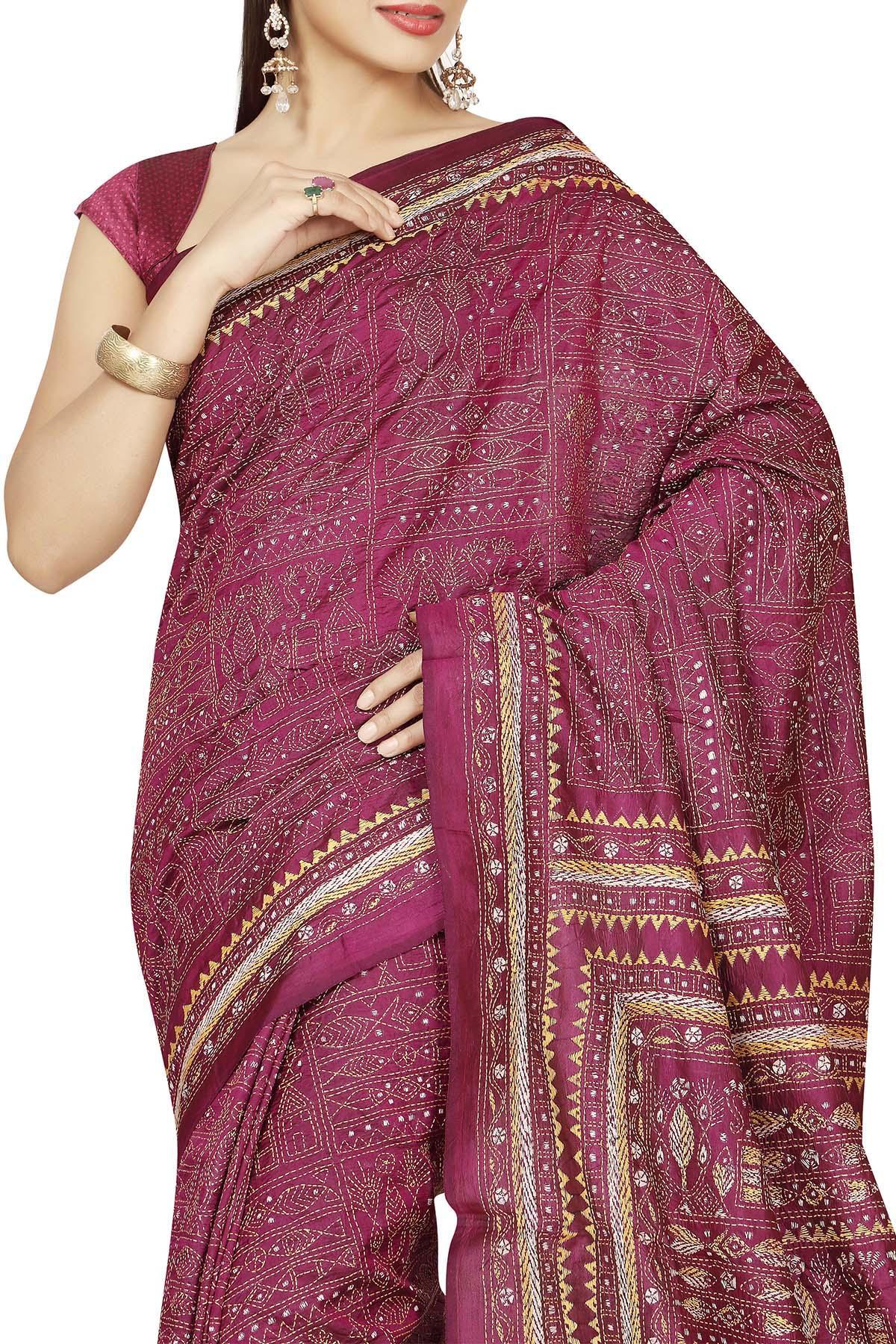 d0c57ea21a043 Tyrian Purple Meen Nakshi Kantha Soft Silk Saree - Kantha CraftArt ...