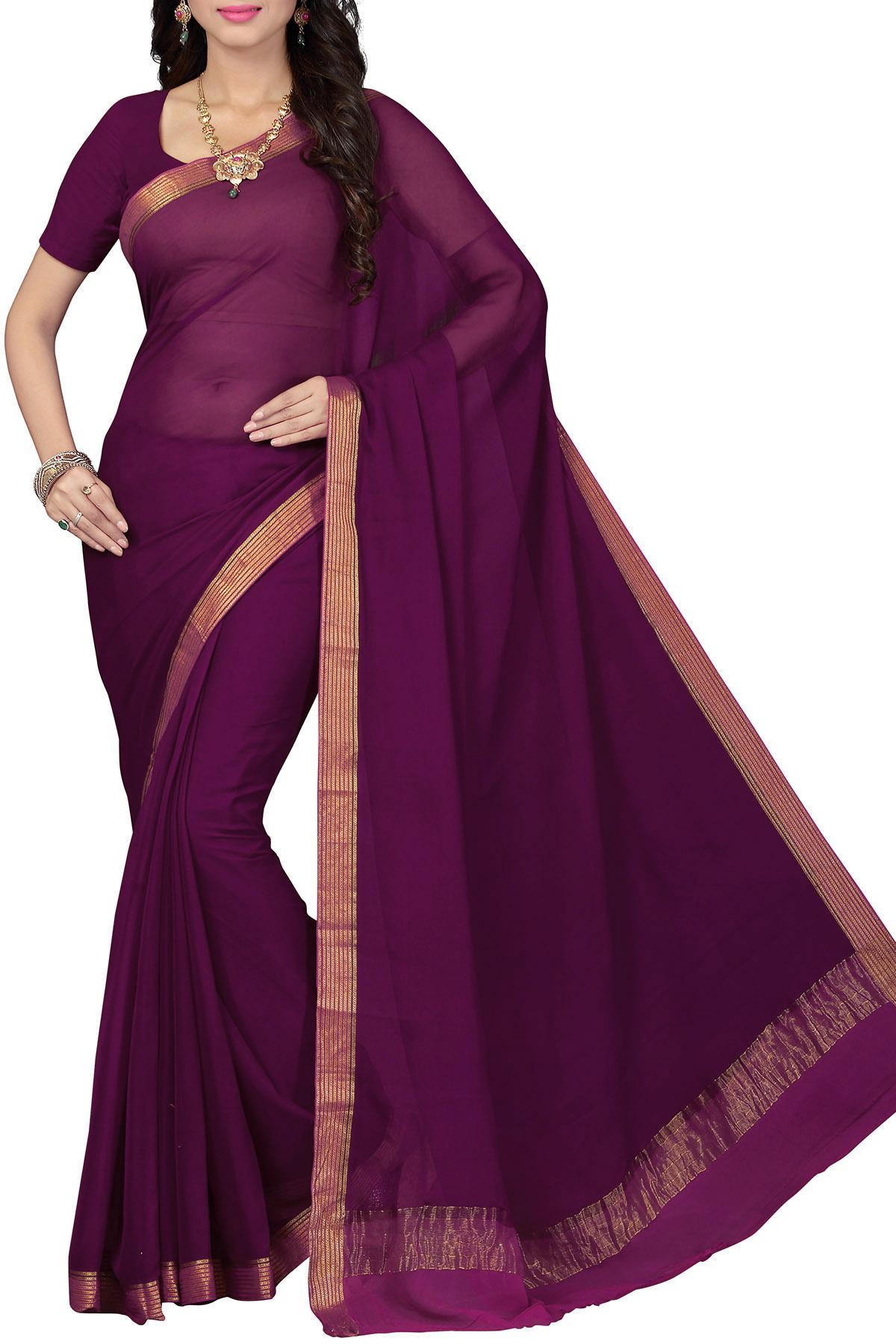 c641667916193 Tyrian Purple   Pink Zari Border Pure Chiffon Saree - Chiffon Chimes ...